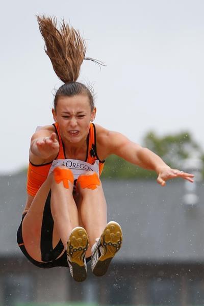 Nadine Visser in the heptathlon long jump at the 2014 IAAF World Junior Championships in Eugene (Getty Images)