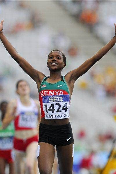 Faith Chepngetich Kipyegon of Kenya celebrates winning the Women's 1500 metres Final on day six of the 14th IAAF World Junior Championships in Barcelona on 15 July 2012 (Getty Images)