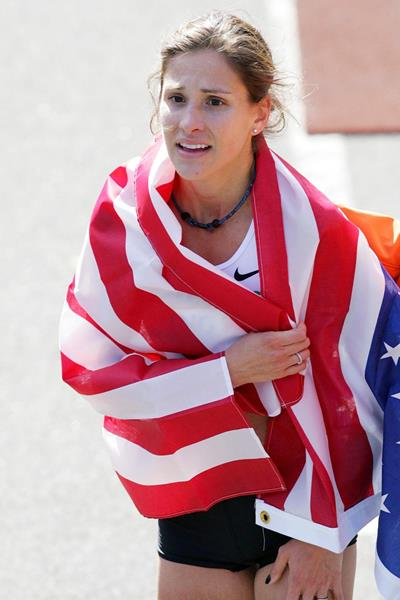 Kara Goucher after her third place finish in New York; her 2:25:53 was the fastest ever debut by an American (Getty Images)