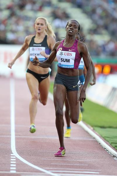 Eunice Sum winning the 800m at the 2014 IAAF Diamond League meeting in Lausanne (Giancarlo Colombo)