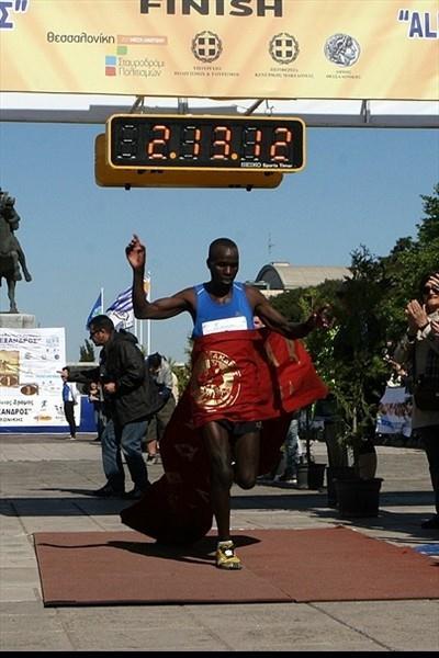 Peter Biwott winning the Alexander the Great Marathon in Thessaloniki (Organisers)