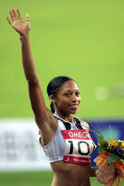 Allyson Felix acknowledges the crowd in Shanghai after her 200m win (Getty Images)