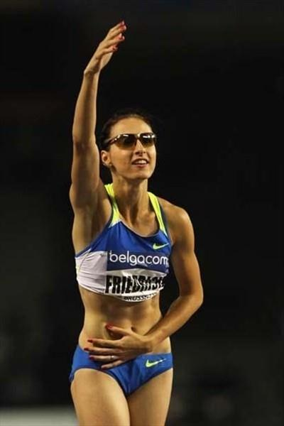 Ariane Friedrich of Germany celebrates victory in the Women's High Jump in Brussels (Getty Images)