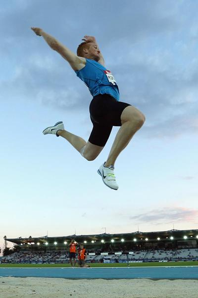 Greg Rutherford flies out to 8.10m at the Melbourne World Challenge meeting (Getty Images)