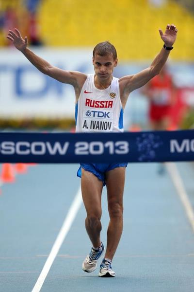 Aleksandr Ivanov wins the men's 20km race walk at the IAAF World Athletics Championships Moscow 2013 (Getty Images)