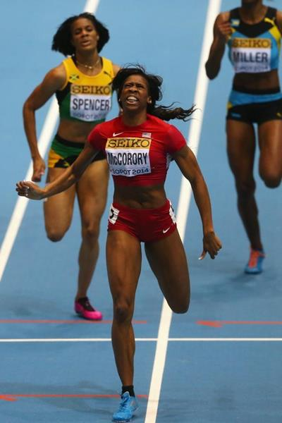 Francena McCorory wins the 400m at the 2014 IAAF World Indoor Championships in Sopot (Getty Images)