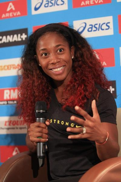 Shelly-Ann Fraser-Pryce at the pre-event press conference for the 2013 IAAF Diamond League meeting in Paris (Jean-Pierre Durand)
