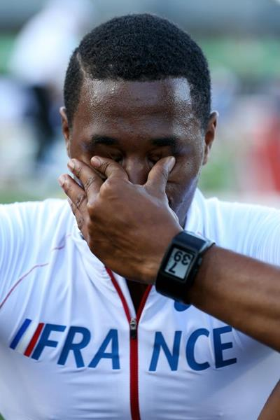 An emotional Wilhem Belocian after breaking the world junior 110m hurdles record at the IAAF World Junior Championships, Oregon 2014 (Getty Images)