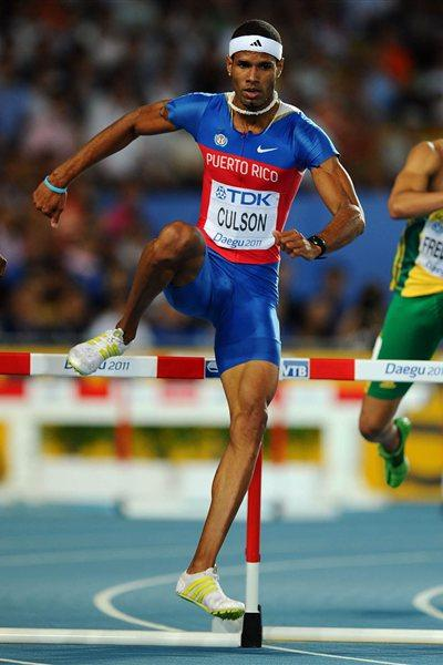 Javier Culson of Puerto Rico in action in the 400m Hurdles semi-finals (Getty Images)