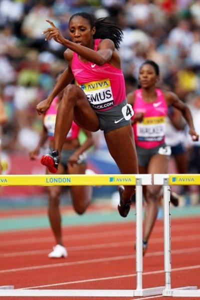 Lashinda Demus brings home an emphatic 400m Hurdles victory in London (Getty Images)