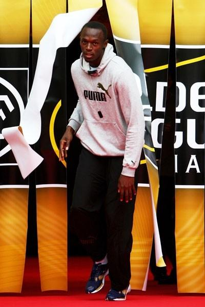 Usain Bolt is introduced to the crowd in Paris (Getty Images)