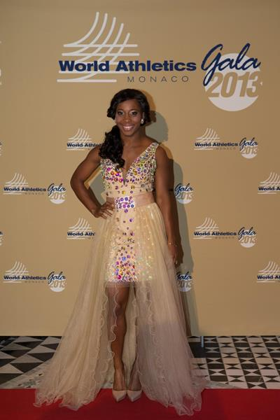 Shelly-Ann Fraser-Pryce arrives at the 2013 World Athletics Gala (Philippe Fitte)