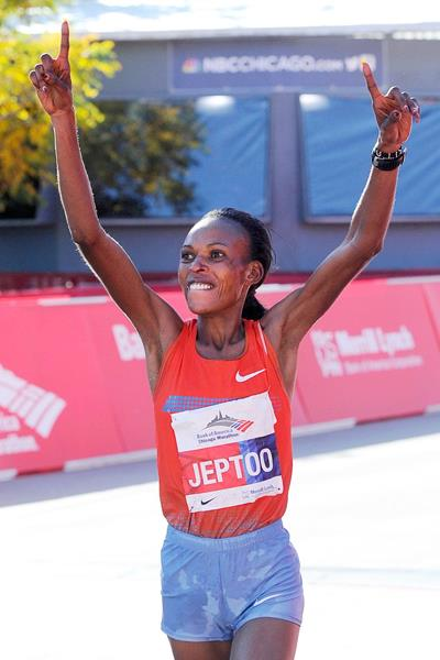 Rita Jeptoo of Kenya after winning the 2013 Chicago Marathon (Getty Images)