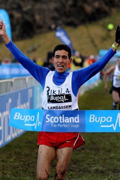 Ayad Lamdassem winning the 8Km team race in Edinburgh (Mark Shearman)