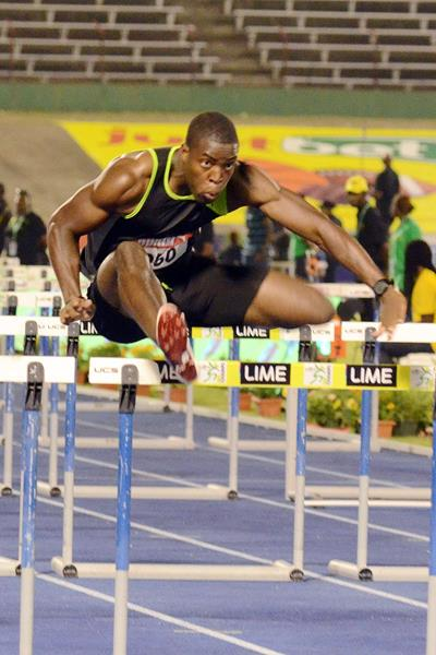 Andrew Riley on his way to winning the 110m Hurdles at the Jamaican Championships (Anthony Foster)