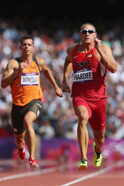 Trey Hardee of the United States (R) and Eelco Sintnicolaas of Netherlands compete in the Men's Decathlon 100m Heats on Day 12 of the London 2012 Olympic Games on 08 August 2012 (Getty Images)