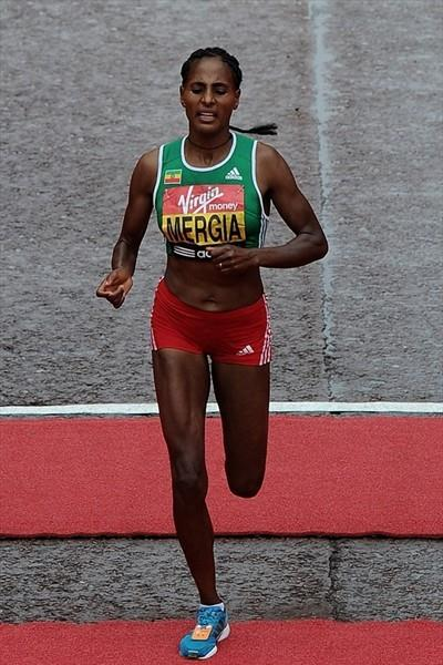 Aselefech Mergia finishes third at the 2010 London Marathon (Getty Images)