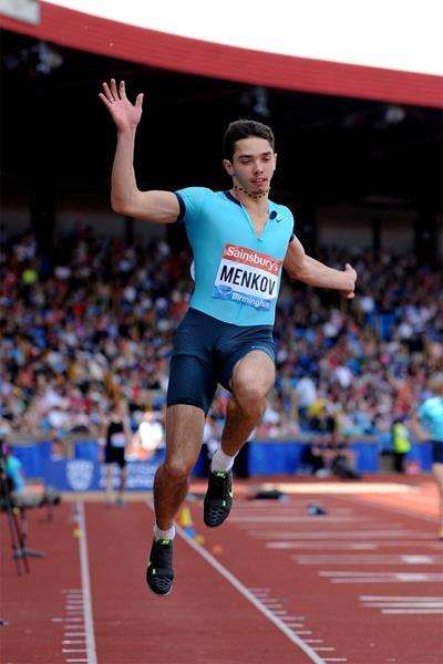Aleksandr Menkov wins the Long Jump at the Birmingham Diamond League (Mark Shearman)