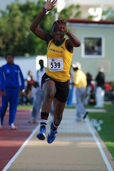 Jamaica's Kimberly Williams won the girls' U-20 Triple Jump in Carifta (Anthony Foster)