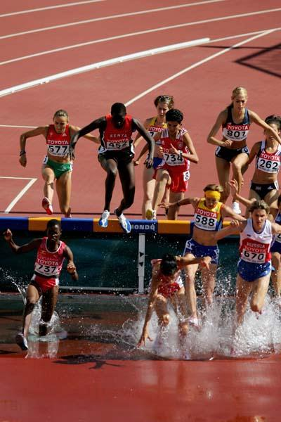 Dorcus Inzikuru of Uganda in the heats of the women's 3000m Steeplechase (Getty Images)