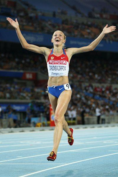 Yuliya Zaripova of Russia celebrates claiming gold in the women's 3000 metres steeplechase final during day four  (Getty Images)