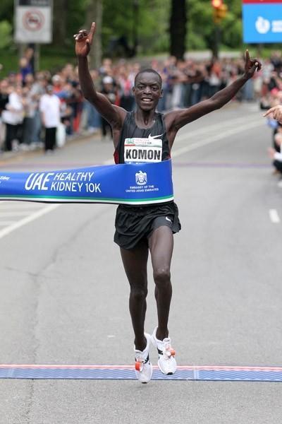 Leonard Patrick Komon shattering the Central Park 10Km record (Courtesy New York Road Runners)