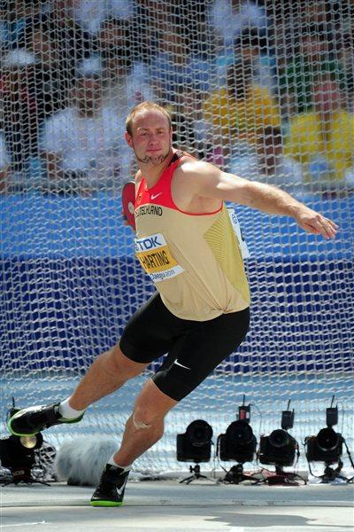 Defending champion Robert Harting in the qualification round of the men's Discus Throw (Getty Images)