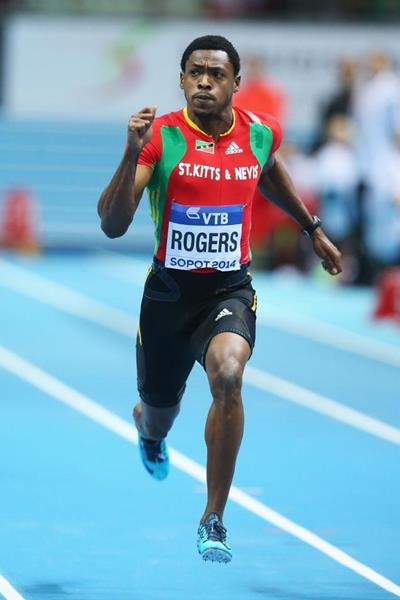 Jason Rogers of St Kitts and Nevis wins his 60m heat at the 2014 IAAF World Indoor Championships in Sopot (Getty Images)