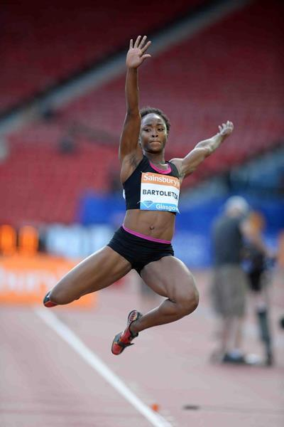 Tianna Bartoletta at the 2014 IAAF Diamond League meeting in Glasgow (Jiro Mochizuki)