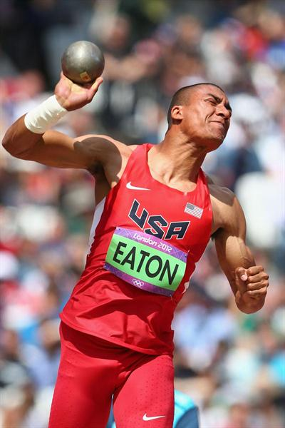 Ashton Eaton of the United States competes in the Men's Decathlon Shot Put on Day 12 of the London 2012 Olympic Games at Olympic Stadium on August 8, 2012  (Getty Images )