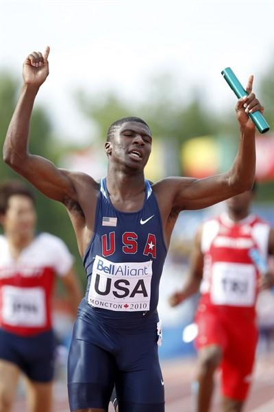 Oliver Bradwell brings home gold for the USA in the men's 4x100m in Moncton (Getty Images)