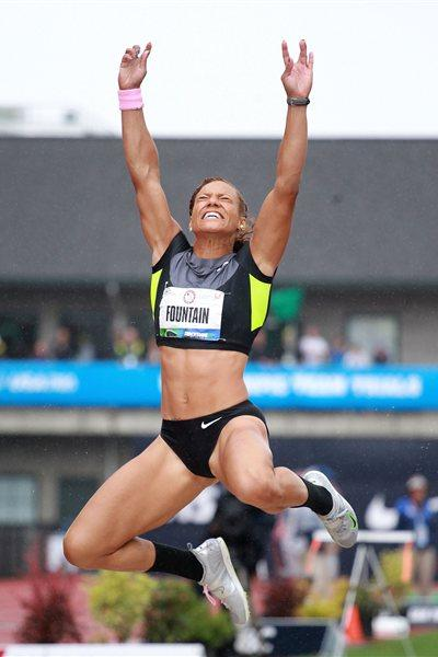Hyleas Fountain sailing to the US Heptathlon title in Eugene (Getty Images)