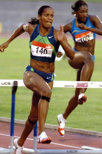 Brigitte Foster-Hylton wins 100m hurdles in 12.74 (Sporting Eagle)