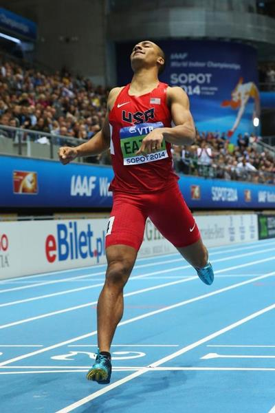 Ashton Eaton in the heptathlon 1000m at the 2014 IAAF World Indoor Championships in Sopot (Getty Images)