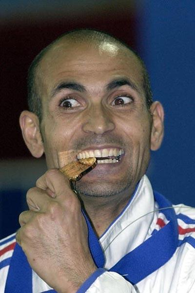 Driss Maazouzi of France after winning the men's 1500m final (Getty Images)