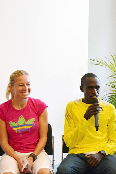 John Kiprotich and Petra Kaminkova ahead of the 2013 Mattoni Half Marathon in Olomouc (Organisers)