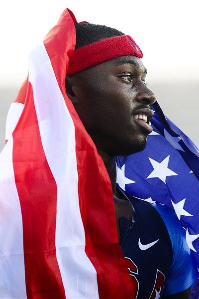 Eric Futch of United States enjoying being Gold after winning the Men's 400 metres hurdles Final on the day four of the IAAF World Junior Championships in Barcelona on 13 July 2012 (Getty Images)