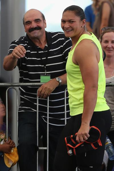 Valerie Adams with her coach, Jean-Pierre Egger (Getty Images)