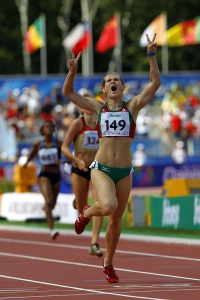 Katsiaryna Artsiukh of Belarus celebrates winning the women's 400m Hurdles in Moncton (Getty Images)