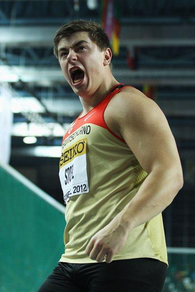 David Storl of Germany reacts as he competes in the Men's Shot Put Final during day one - WIC Istanbulo (Getty Images)