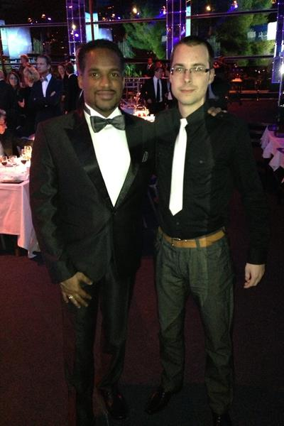 Facebook contest winner David Baka with IAAF Ambassador and former 200m World champion Ato Boldon at the 2013 World Athletics Gala (IAAF)