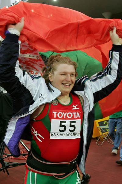 Nadezhsa Ostapchuk of Belarus celebrates winning gold in the women's Shot Put (Getty Images)