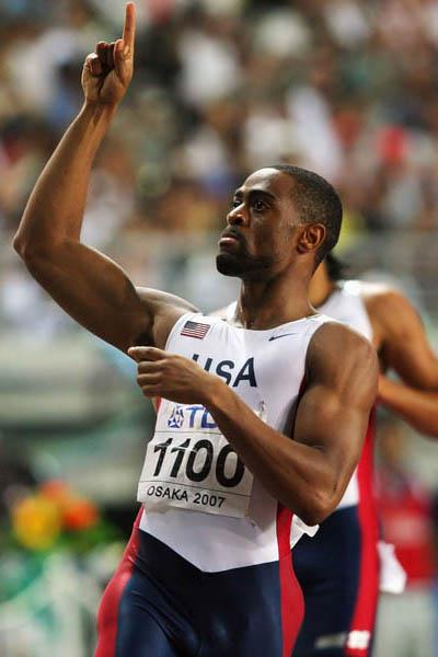 Tyson Gay celebrates winning the 200m gold medal in Osaka (Getty Images)