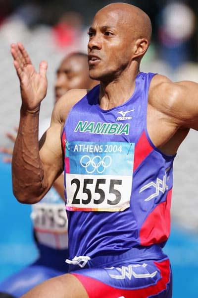 Frank Fredericks of Namibia in the heats of the men's 100m in the 2004 Olympics (Getty Images)