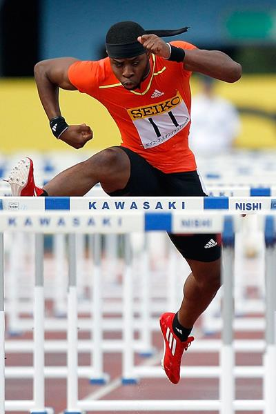 USA's Omo Osaghae in the 110m hurdles (Getty Images)
