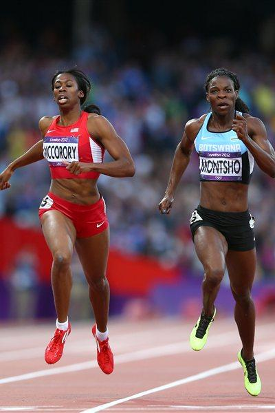 (L-R) Francena McCorory of the United States and Amantle Montsho of Botswana compete in the Women's 400m Semi Final on Day 8 of the London 2012 Olympic Games on 4 August 2012 (Getty Images)