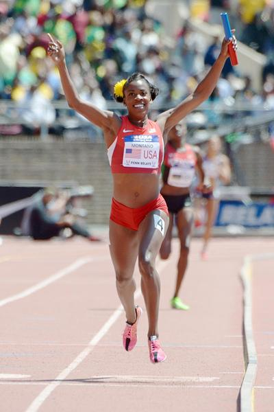 Alysia Montano celebrates the US triumph in the 4x800m at the Penn Relays (Kirby Lee)