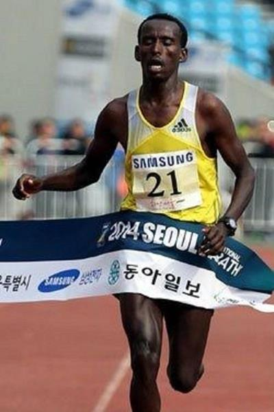 Yacob Jarso winning at the 2014 Seoul International Marathon (organisers)