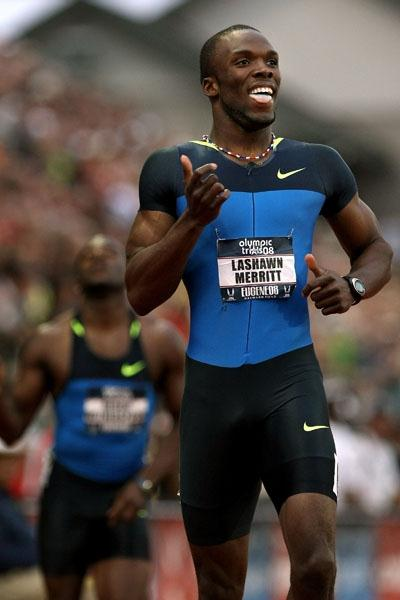 All smiles - LaShawn Merritt after his 400m victory at the U.S. Trials in Eugene (Getty Images)