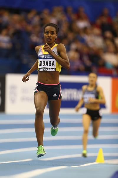 Genezebe Dibaba on her way to a world-leading 4:00.83 in the 1500m in Birmingham (Getty Images)
